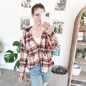 American Eagle Hooded Button Down Flannel